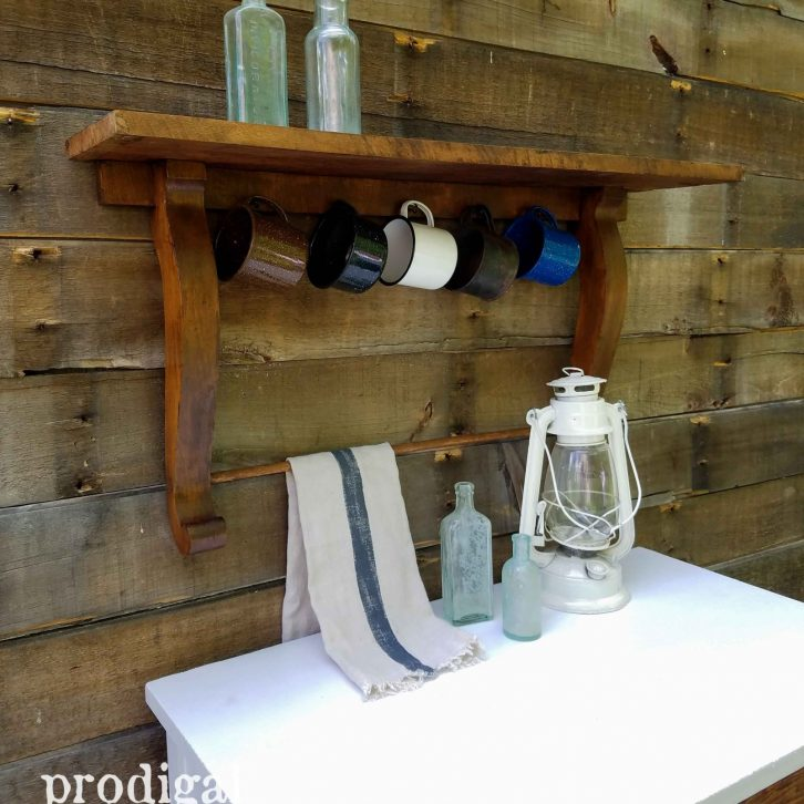 Upcycled Antique Mirror Harp Shelf with Farmhouse Styling by Prodigal Pieces   prodigalpieces.com