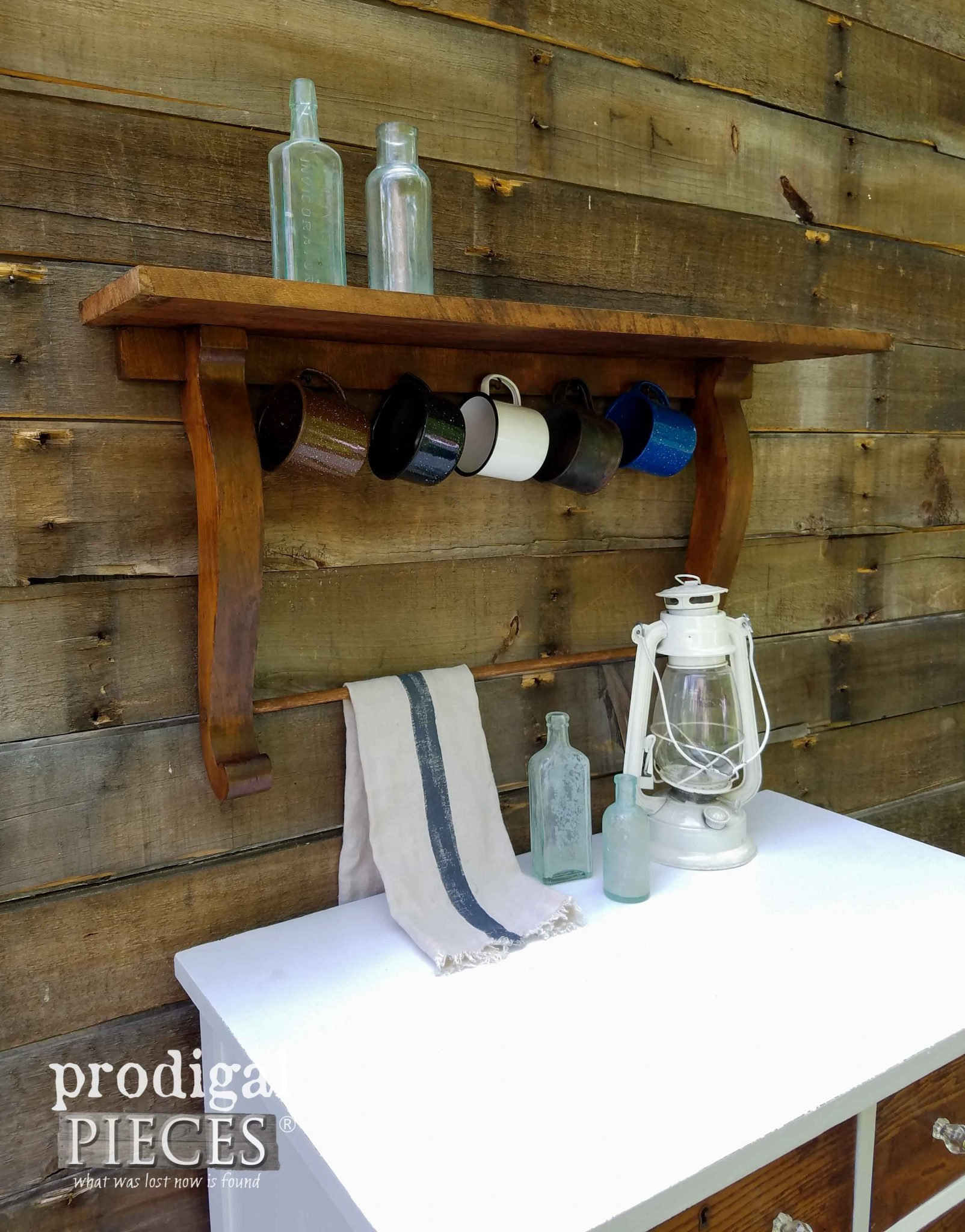 Upcycled Antique Mirror Harp Shelf with Farmhouse Styling by Prodigal Pieces | prodigalpieces.com