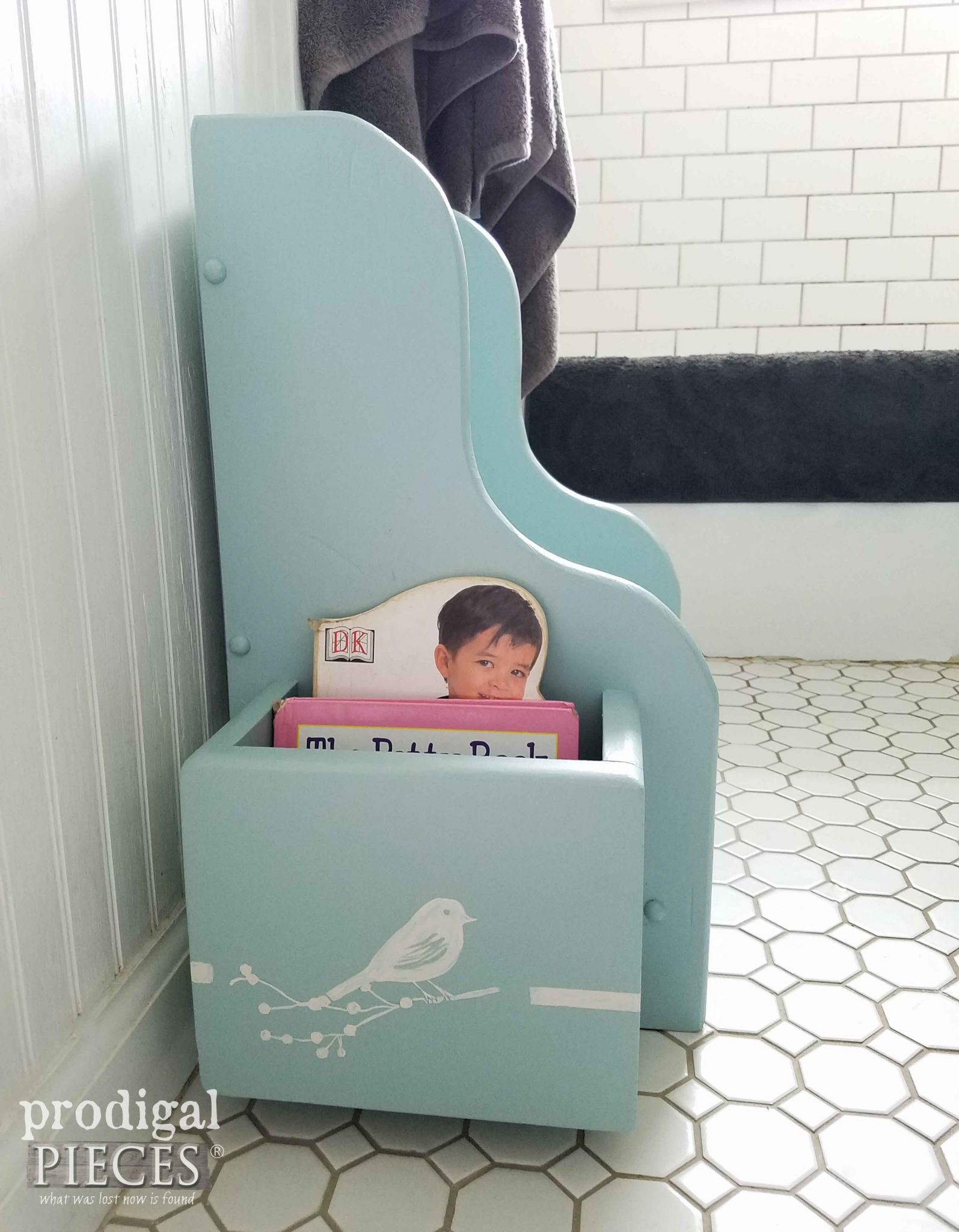 Bird Stencil on Potty Chair Makeover by Prodigal Pieces | prodigalpieces.com