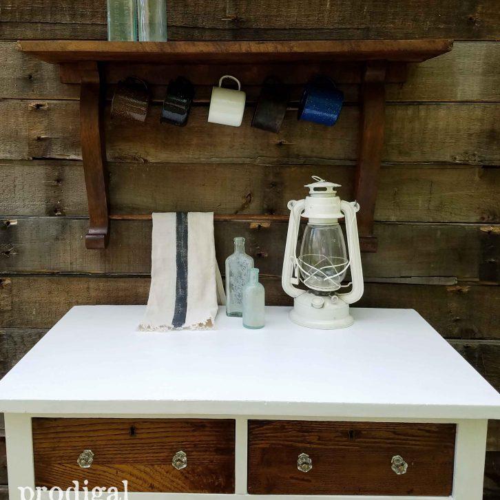 Repurposed Mirror Harp made into a Shelf with Mug and Towel Rack by Prodigal Pieces   prodigalpieces.com