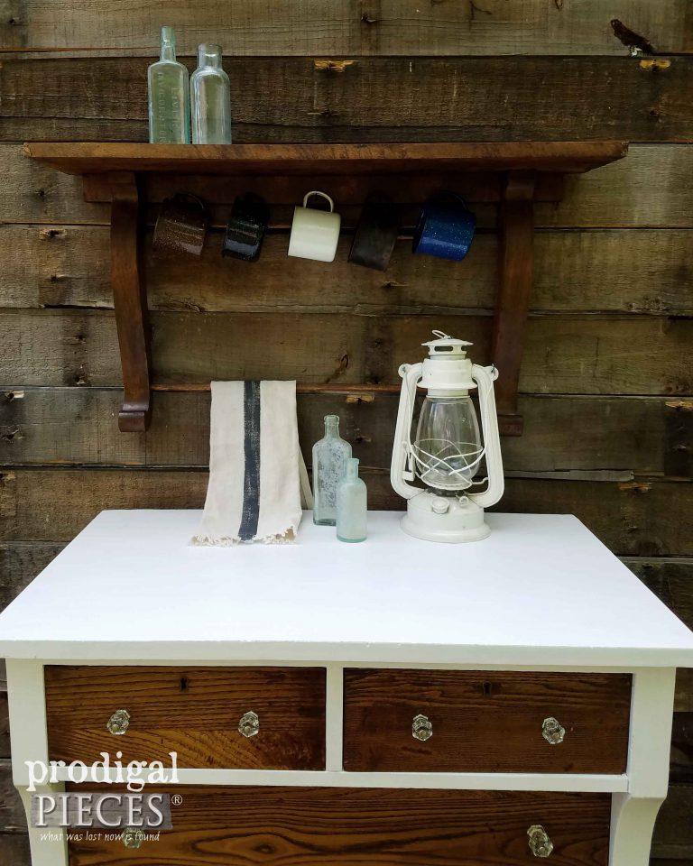 Repurposed Mirror Harp made into a Shelf with Mug and Towel Rack by Prodigal Pieces | prodigalpieces.com