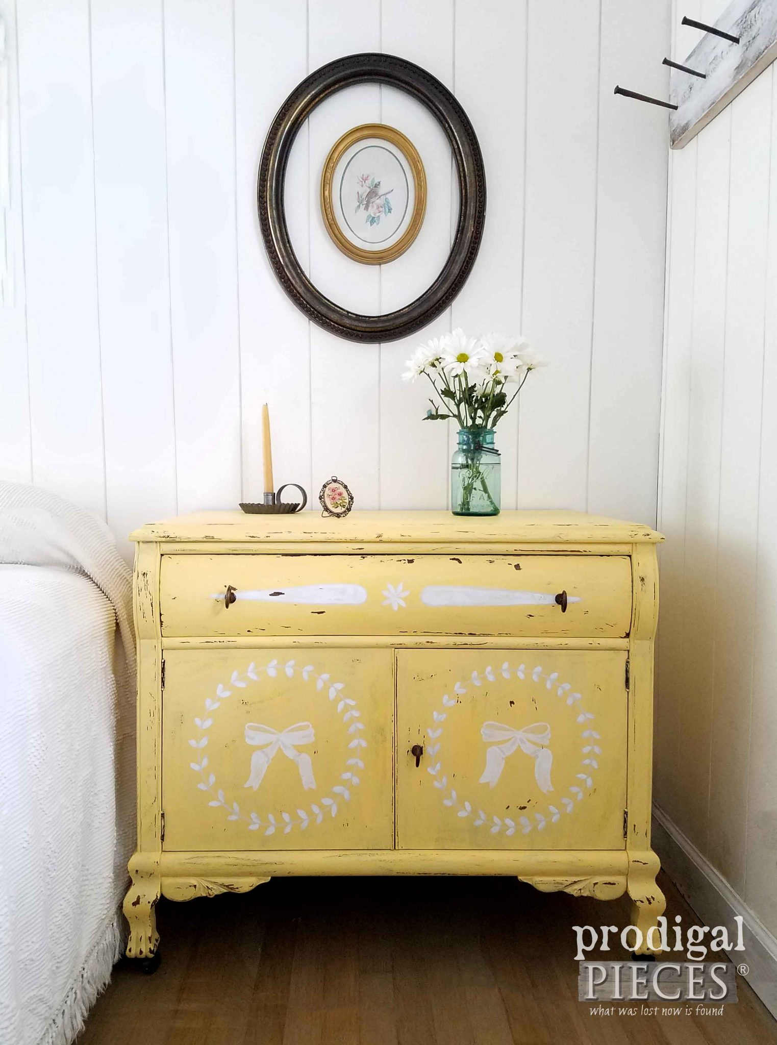 Rustic Yellow Chest with Hand-Painted Designs by Larissa of Prodigal Pieces | prodigalpieces.com