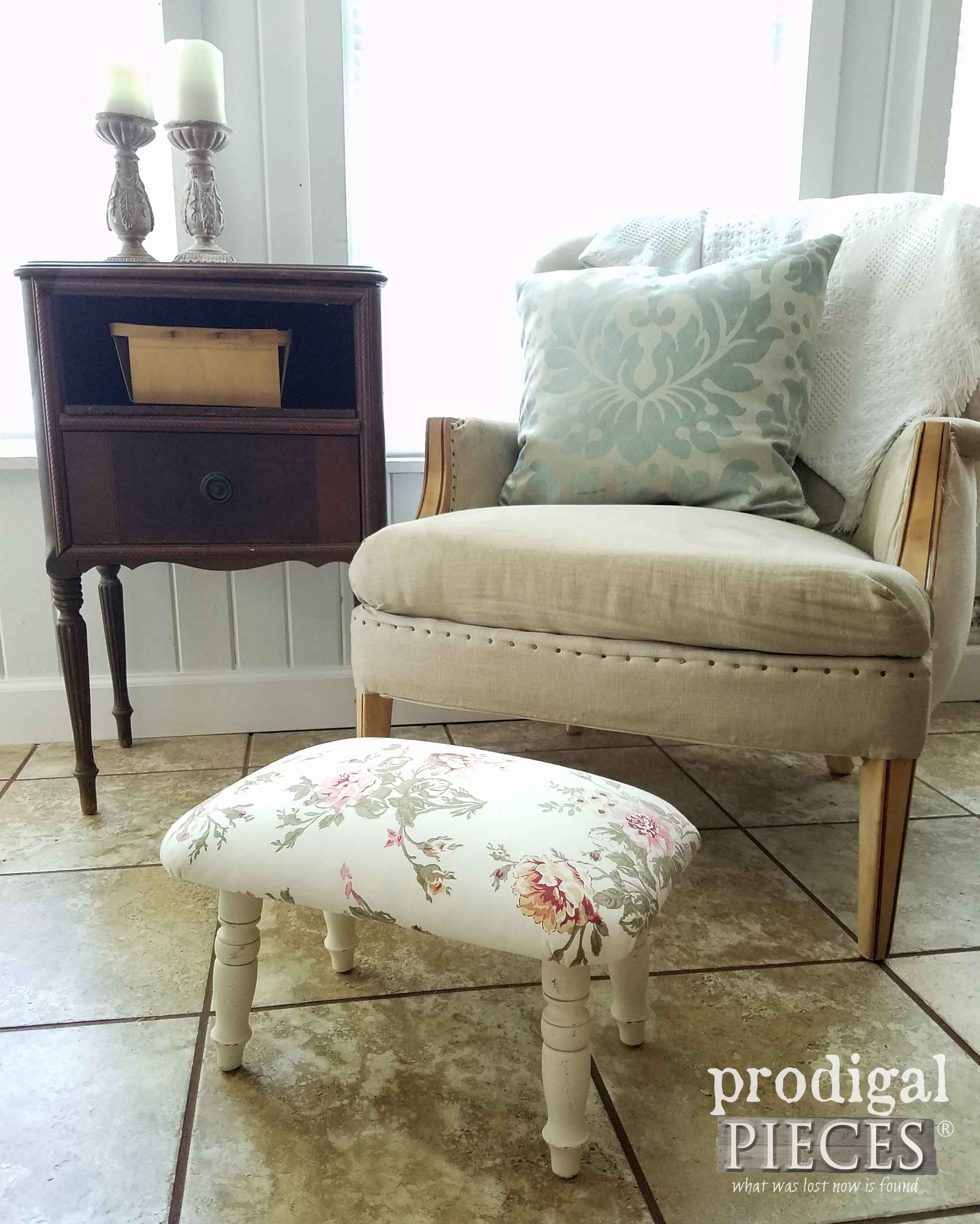 Shabby Chic Footstool Makeover by Prodigal Pieces with DIY steps at prodigalpieces.com
