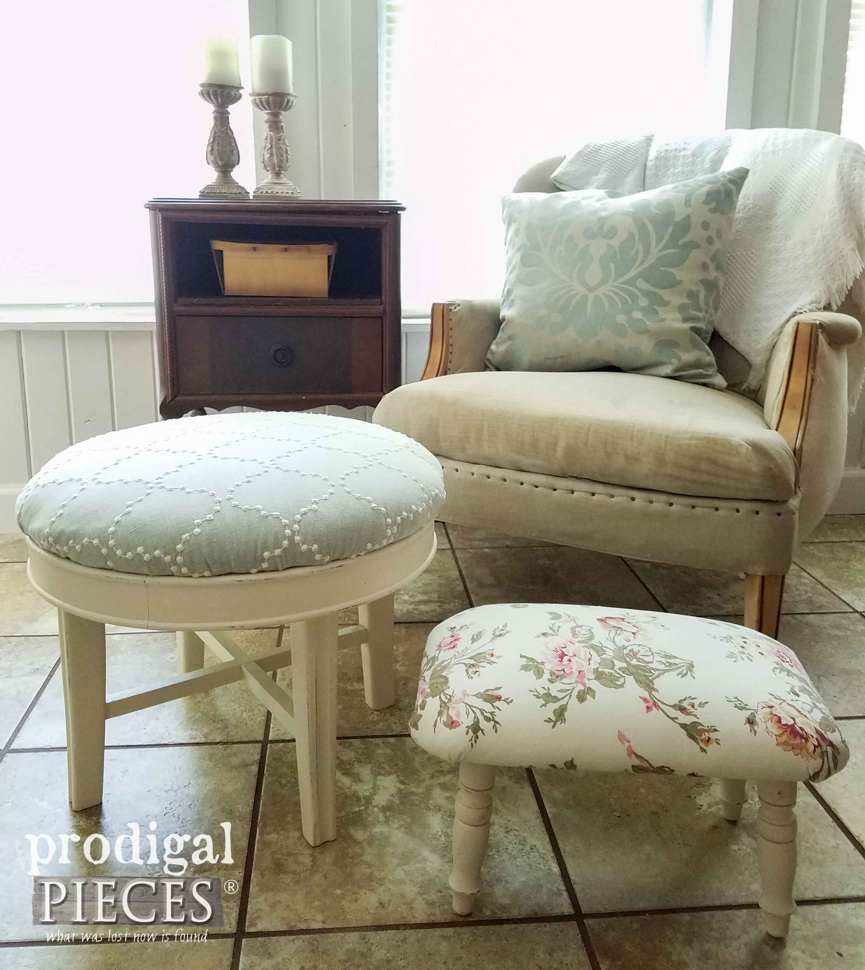 Pair of Vintage Footstools Refreshed with new upholstery and paint by Prodigal Pieces | prodigalpieces.com