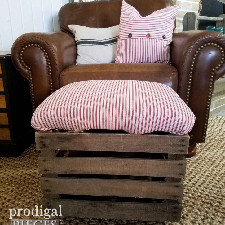 Red Ticking Crate Ottoman by Prodigal Pieces | prodigalpieces.com