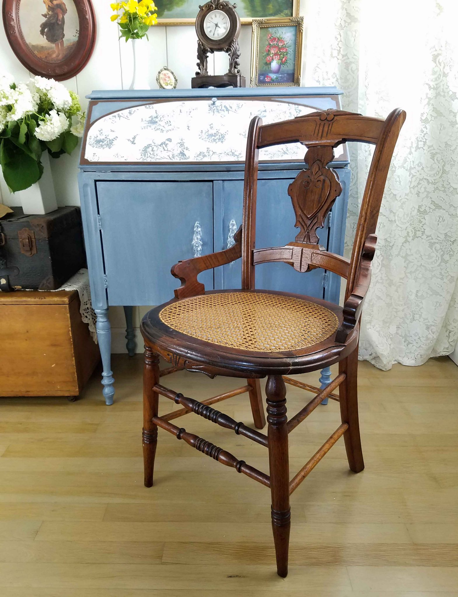 Antique Caned Chair Paired with Secretary Desk by Prodigal Pieces | prodigalpieces.com