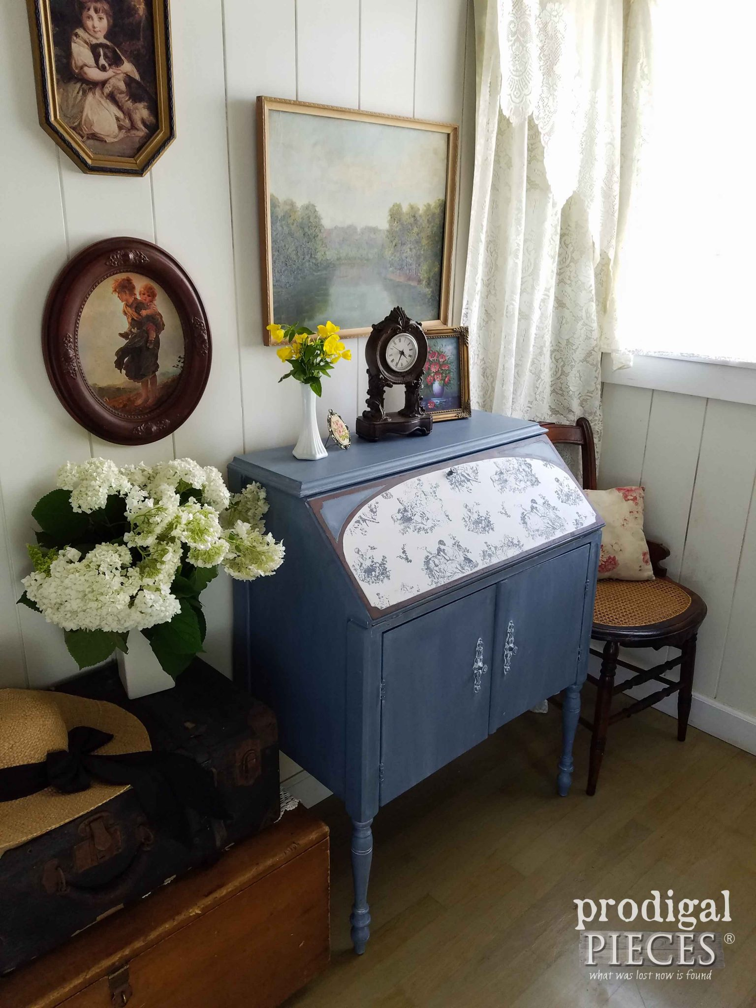 Cottage Style Blue Secretary Desk with Toile Inlay by Prodigal Pieces | prodigalpieces.com