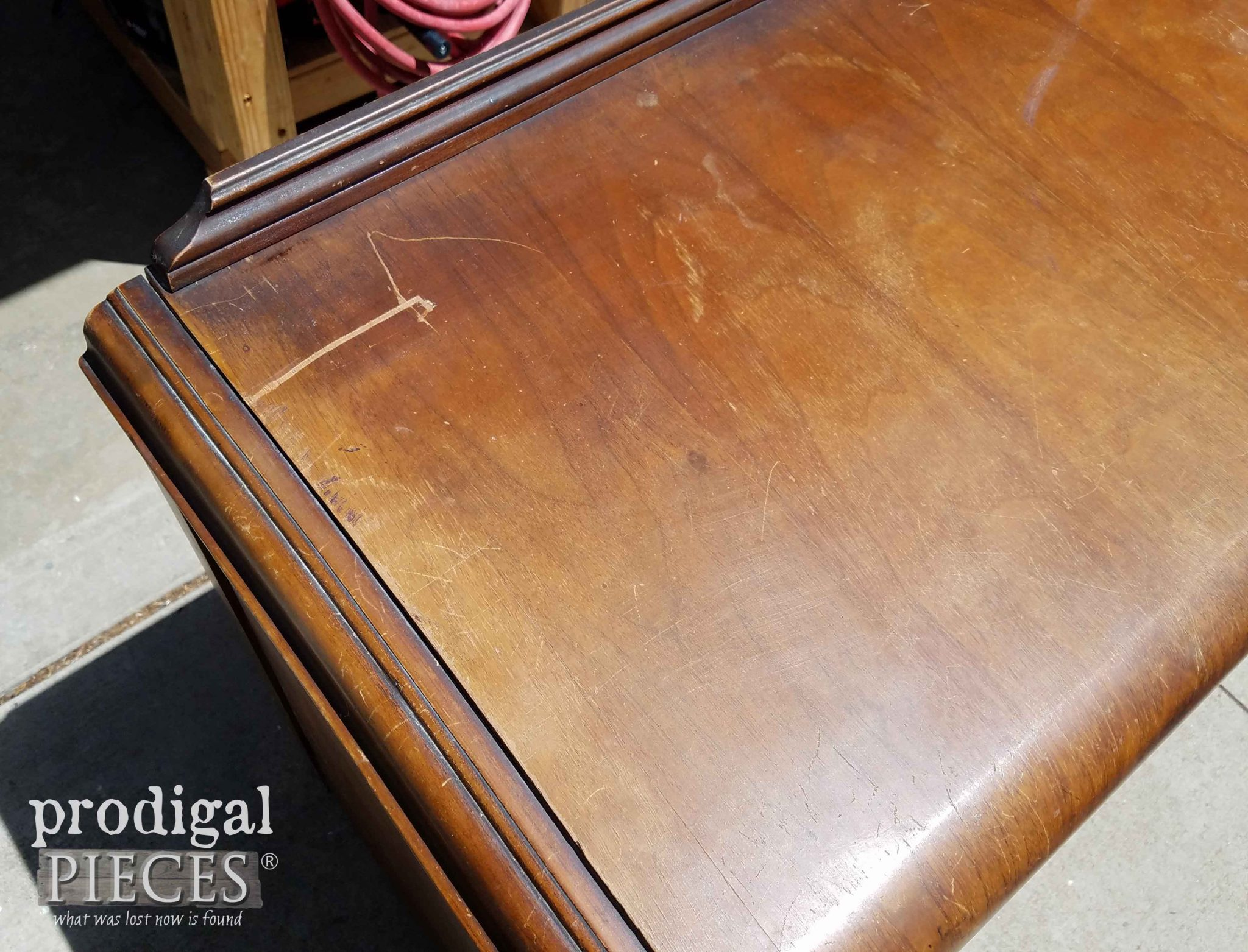 Damaged Top of Art Deco Buffet | prodigalpieces.com