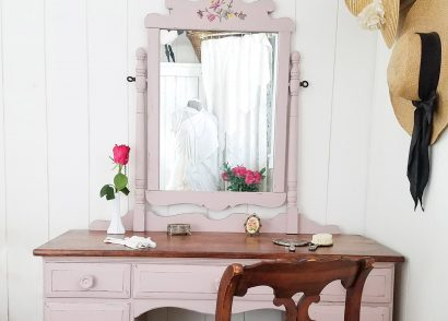 Featured Vintage Vanity Painted Tea Rose Pink by Prodigal Pieces | prodigalpieces.com