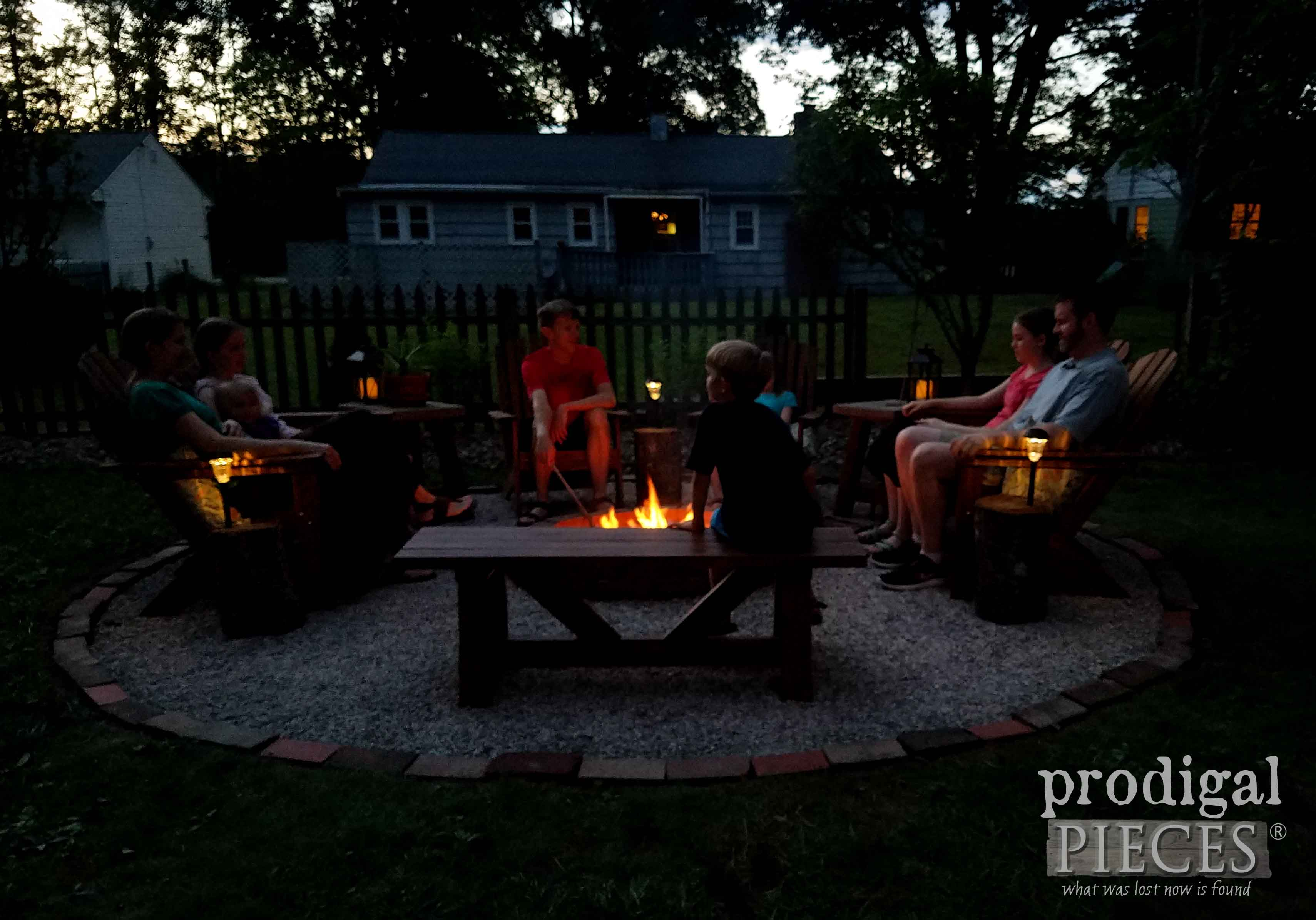 Family Sitting Fireside at DIY Fire Pit by Prodigal Pieces | prodigalpieces.com