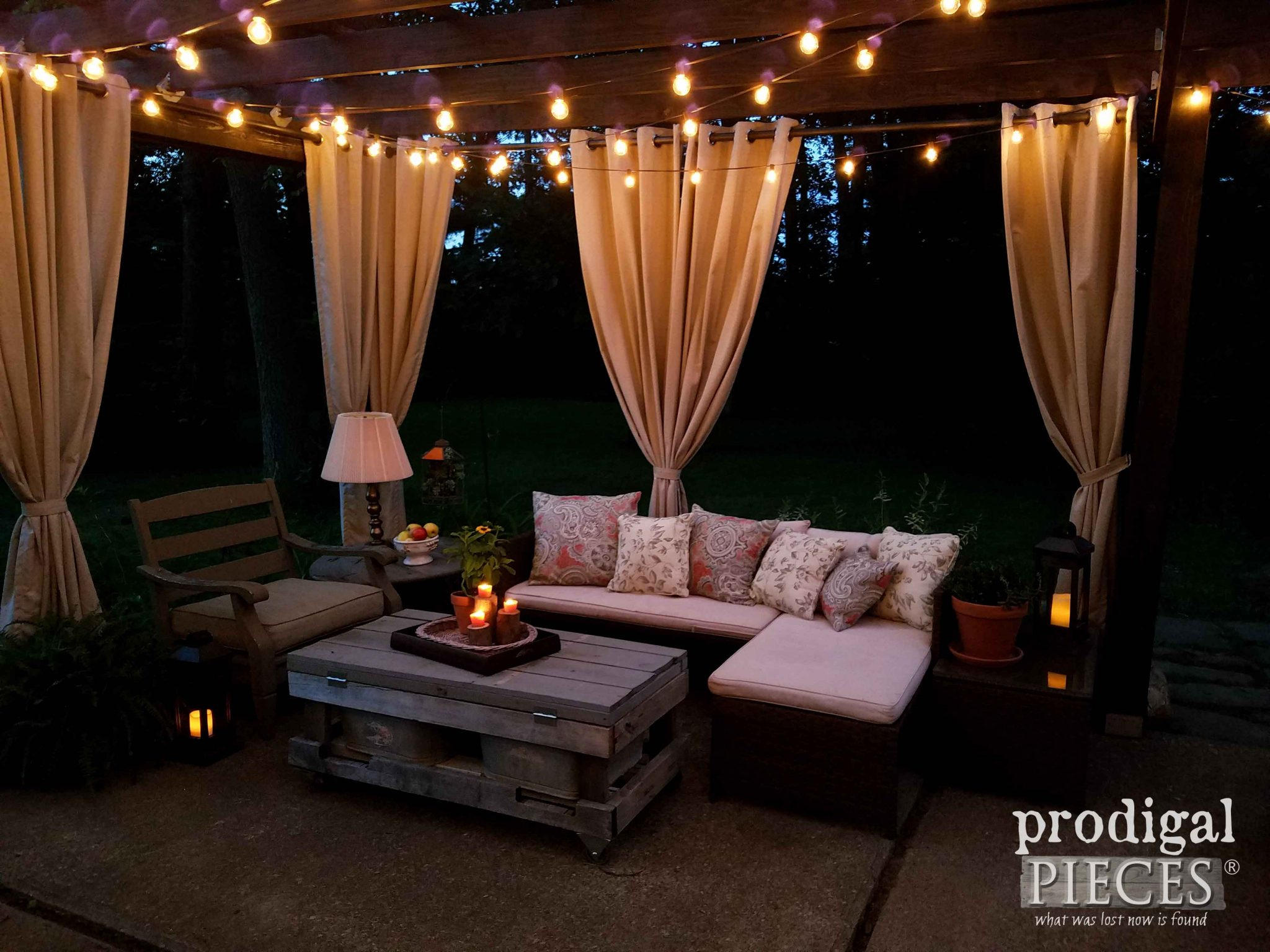 Patio Area at Night by Prodigal Pieces | prodigalpieces.com