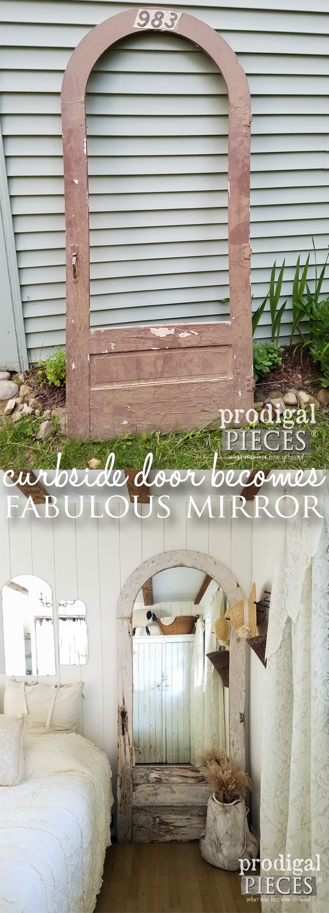 How to Turn a Curbside Door into a Mirror for Farmhouse Decor by Prodigal Pieces | prodigalpieces.com