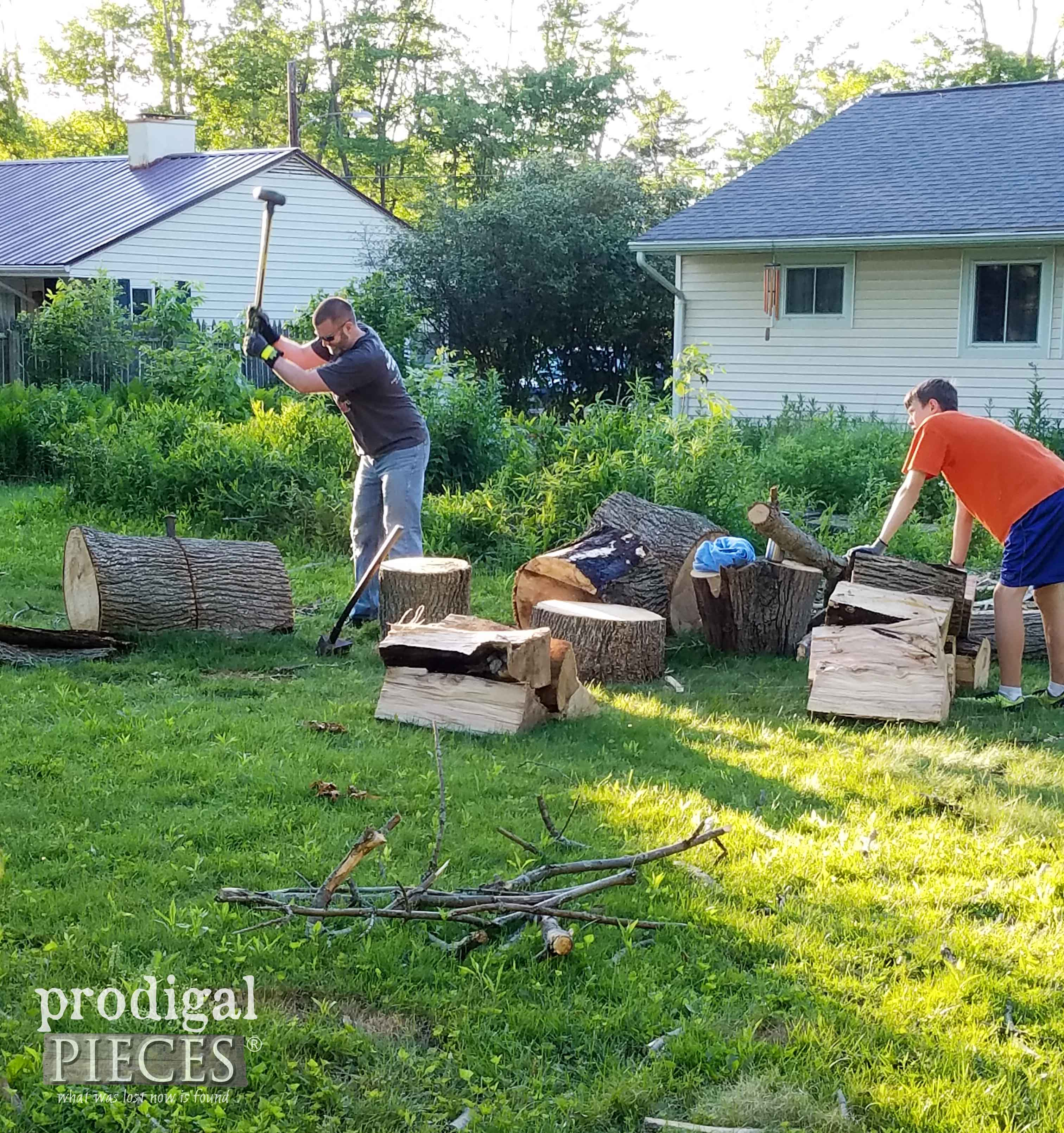 Splitting Wood for Coming Winter in Ohio | prodigalpieces.com