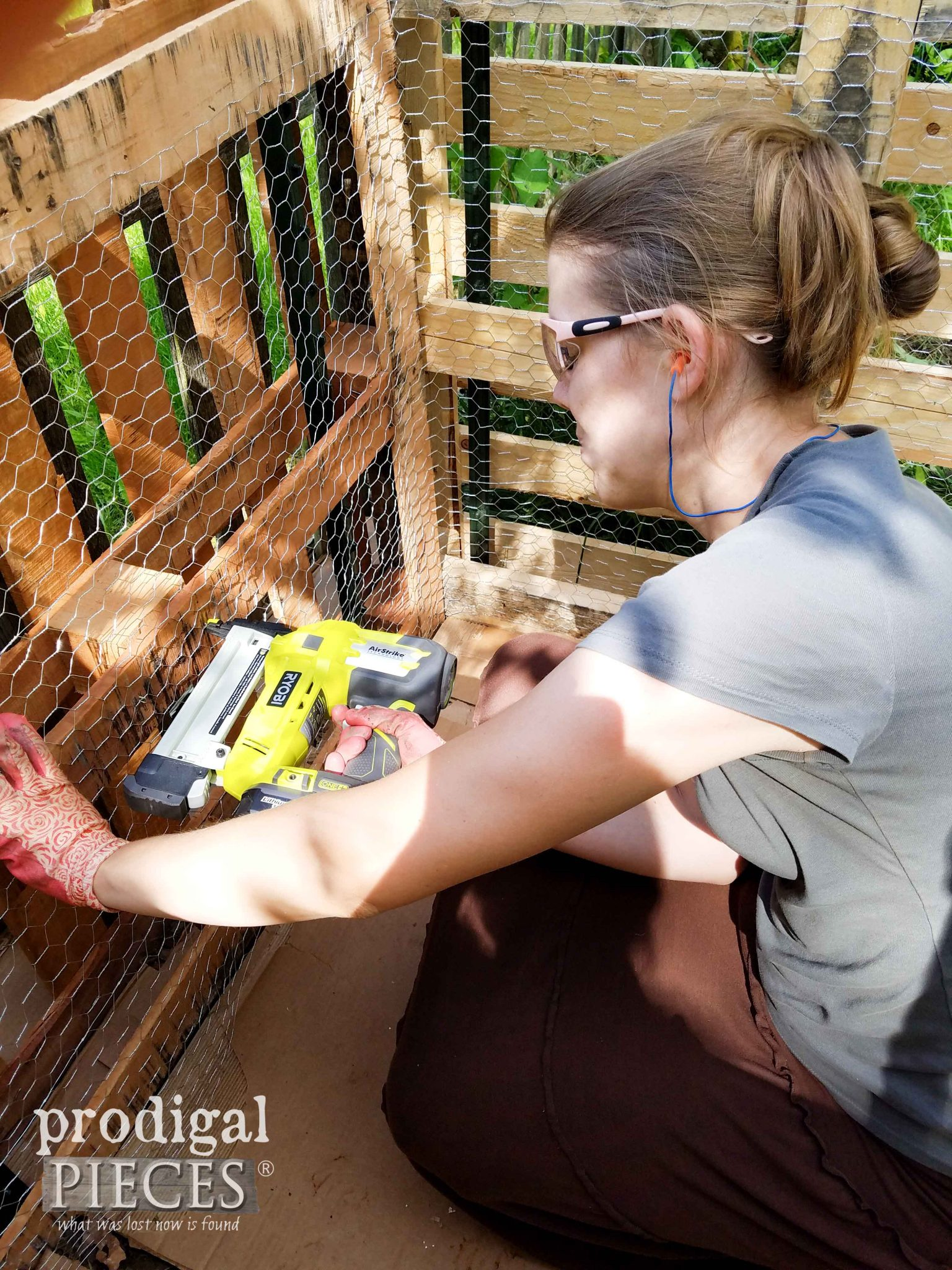 Stapling Chicken Wire with AirStrike Stapler on Compost Bin by Prodigal Pieces | prodigalpieces.com
