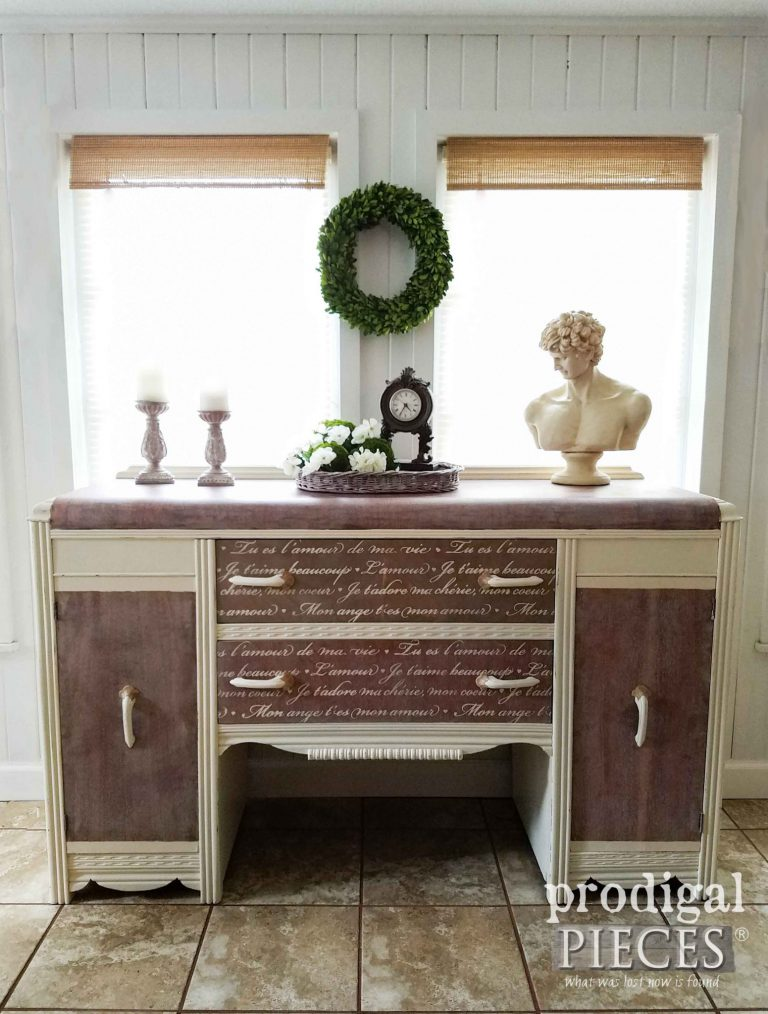 Art Deco Waterfall Buffet with French Script Details by Prodigal Pieces | prodigalpieces.com