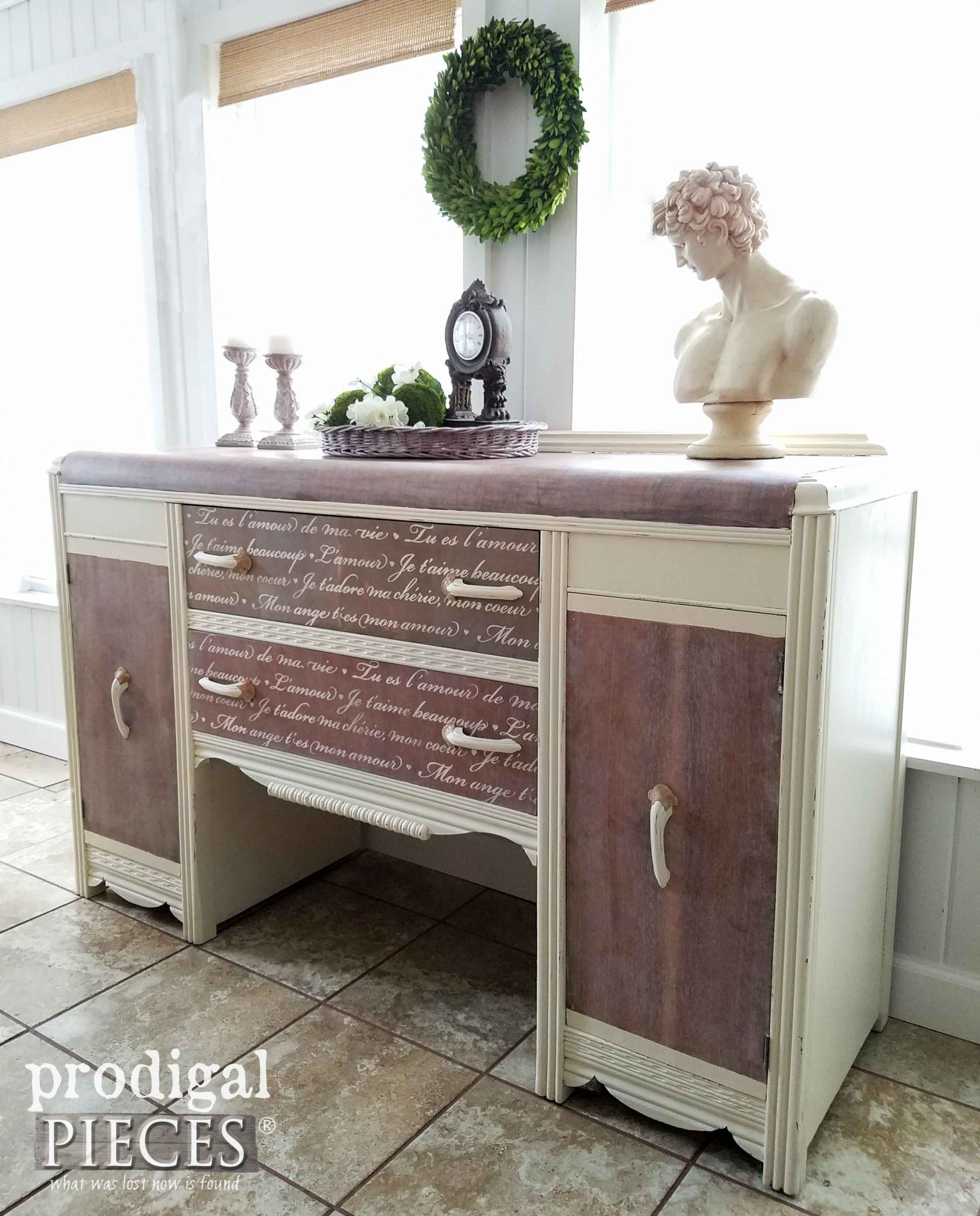 Vintage Art Deco Buffet features French Script by Prodigal Pieces | prodigalpieces.com