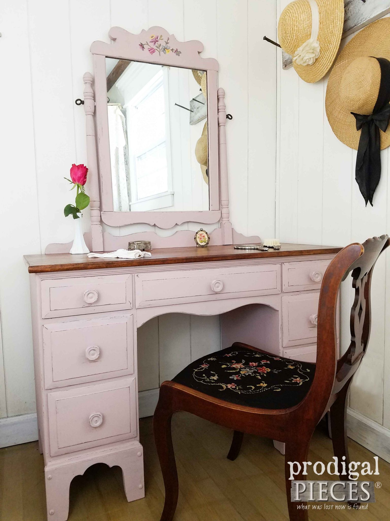 Vintage Dressing Table with Needlepoint Chair in Tea Rose Pink by Prodigal Pieces | prodigalpieces.com