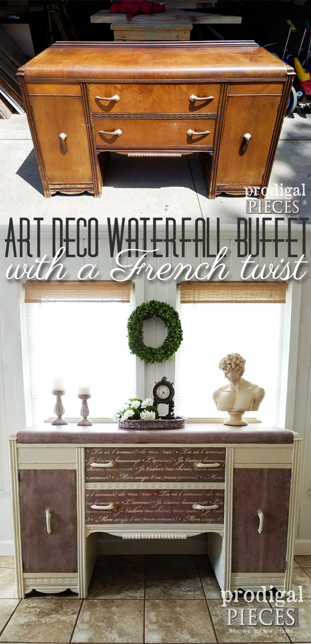 Art Deco never looked so good! This vintage waterfall buffets gets a French twist makeover by a teen. Come see how it's done at Prodigal Pieces | prodigalpieces.com