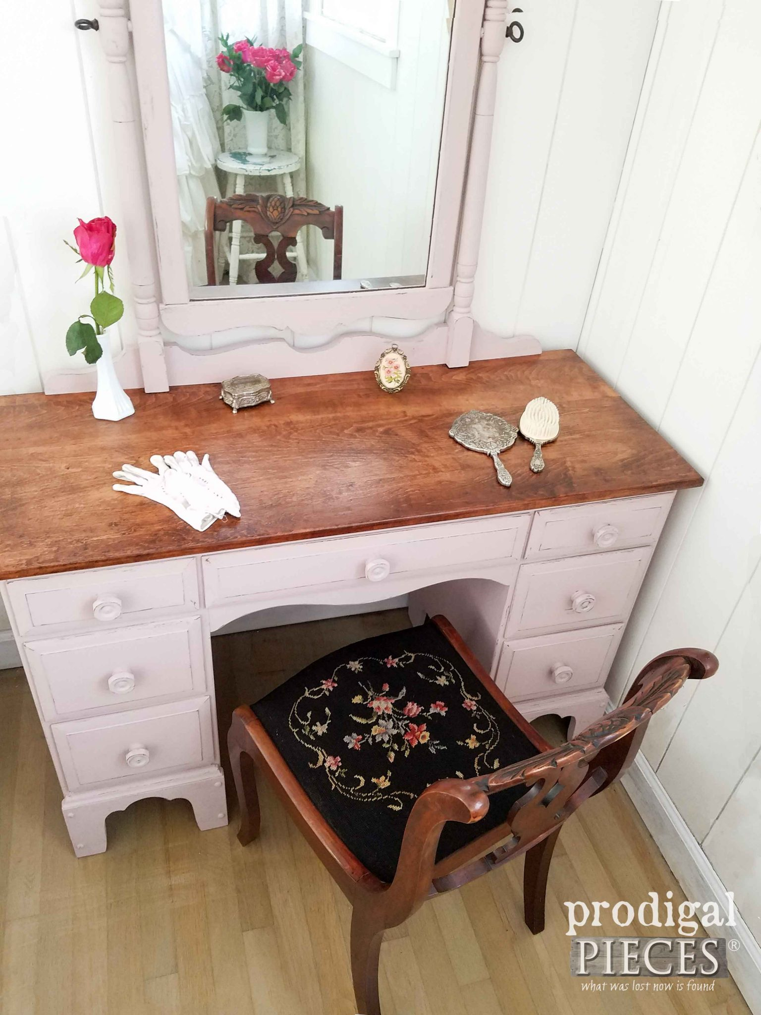 Vintage Vanity with Paint & Stain Combination by Prodigal Pieces | prodigalpieces.com
