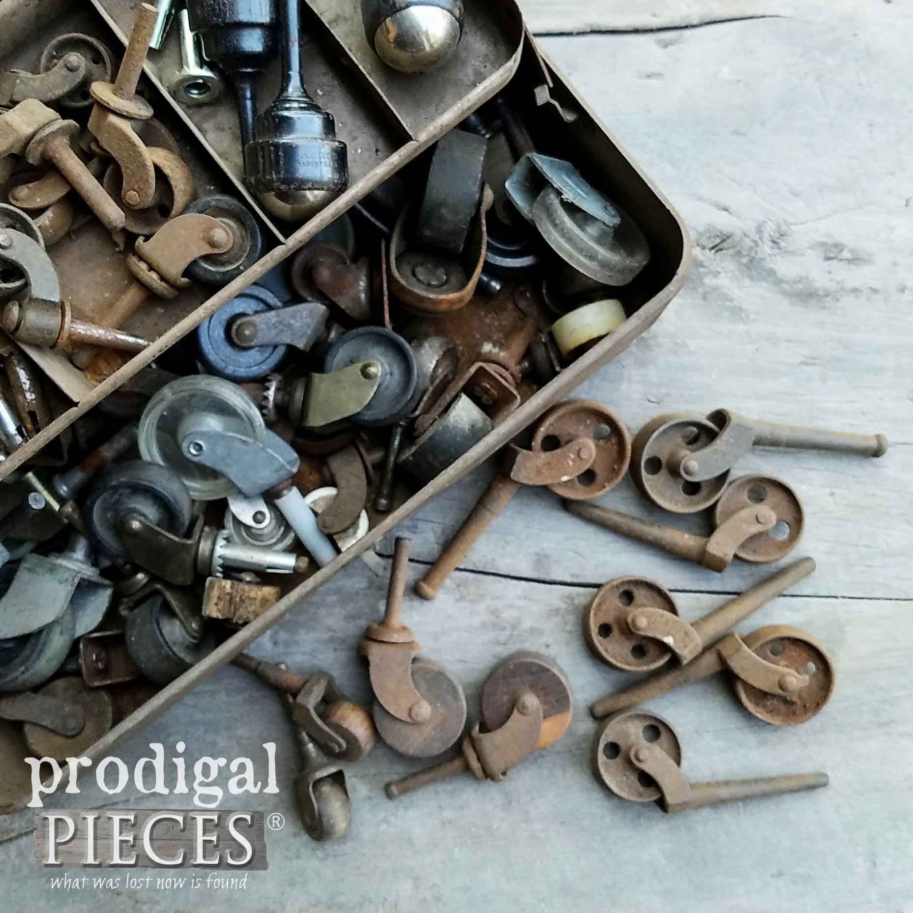 Collection of Antique Casters in Old Tool Box by Prodigal Pieces | prodigalpieces.com