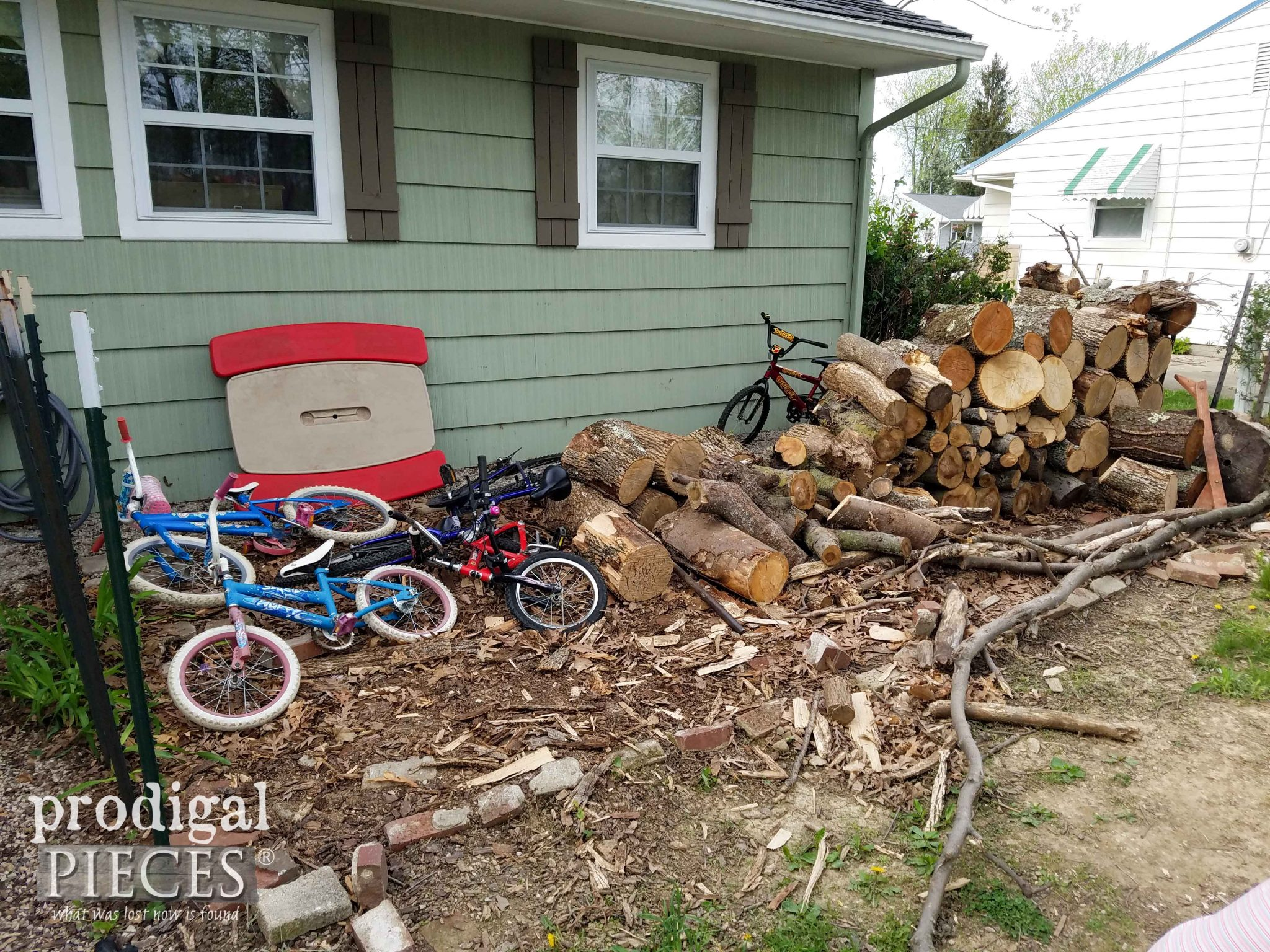 Back Yard Wood Pile Before Makeover | prodigalpieces.com