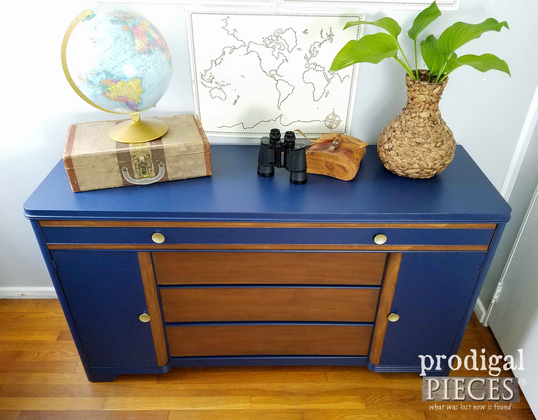 Gorgeous Blue Vintage Art Deco Buffet by Prodigal Pieces | prodigalpieces.com