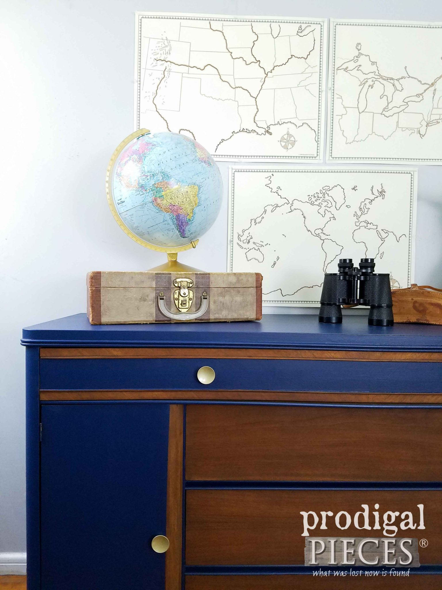 Vintage Art Deco Buffet in Navy Blue by Prodigal Pieces | prodigalpieces.com