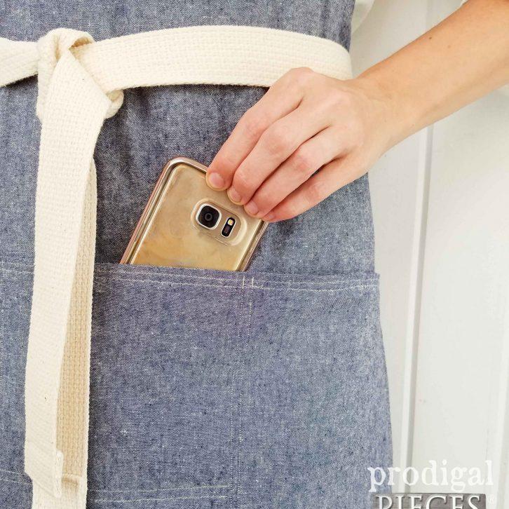 Cell Phone Pocket on Bib Apron by Prodigal Pieces | prodigalpieces.com