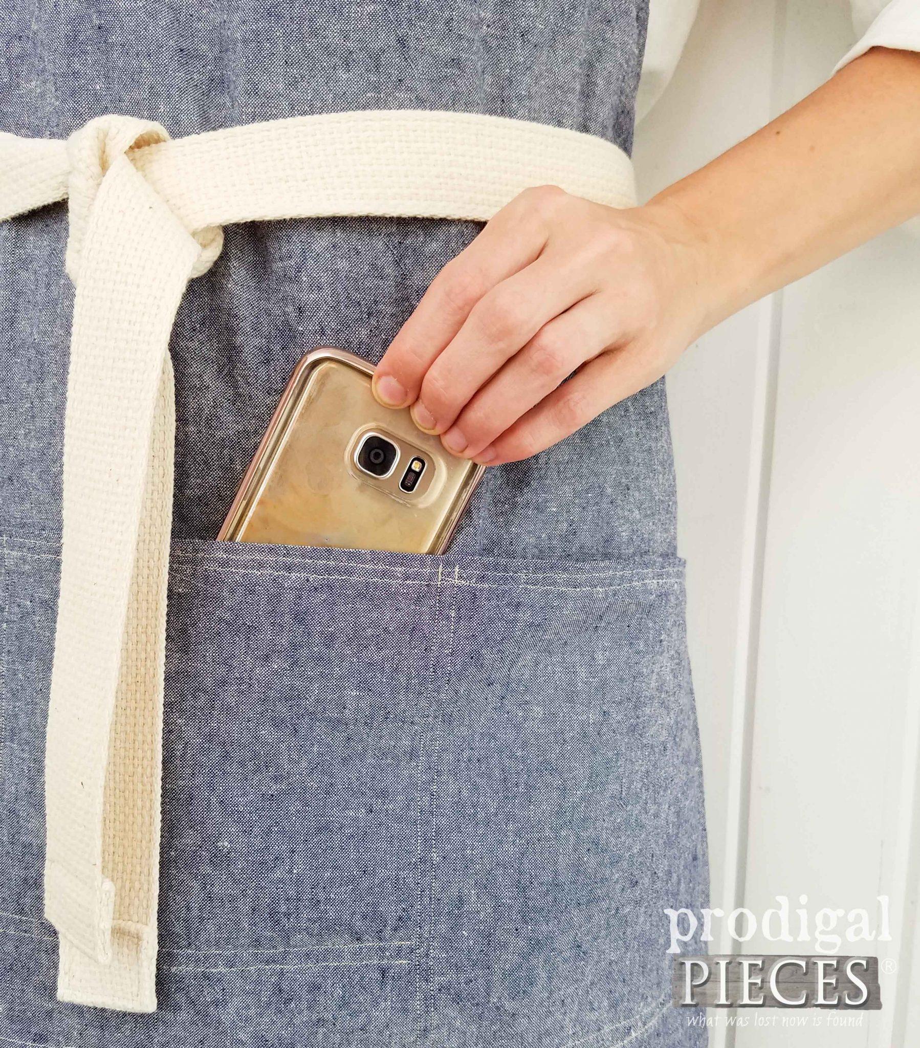 Cell Phone Pocket on Bib Apron by Prodigal Pieces   prodigalpieces.com