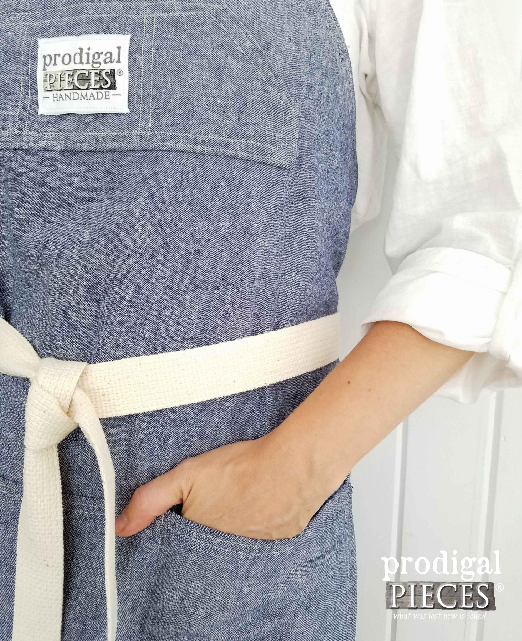 Linen Apron in Denim by Prodigal Pieces   prodigalpieces.com