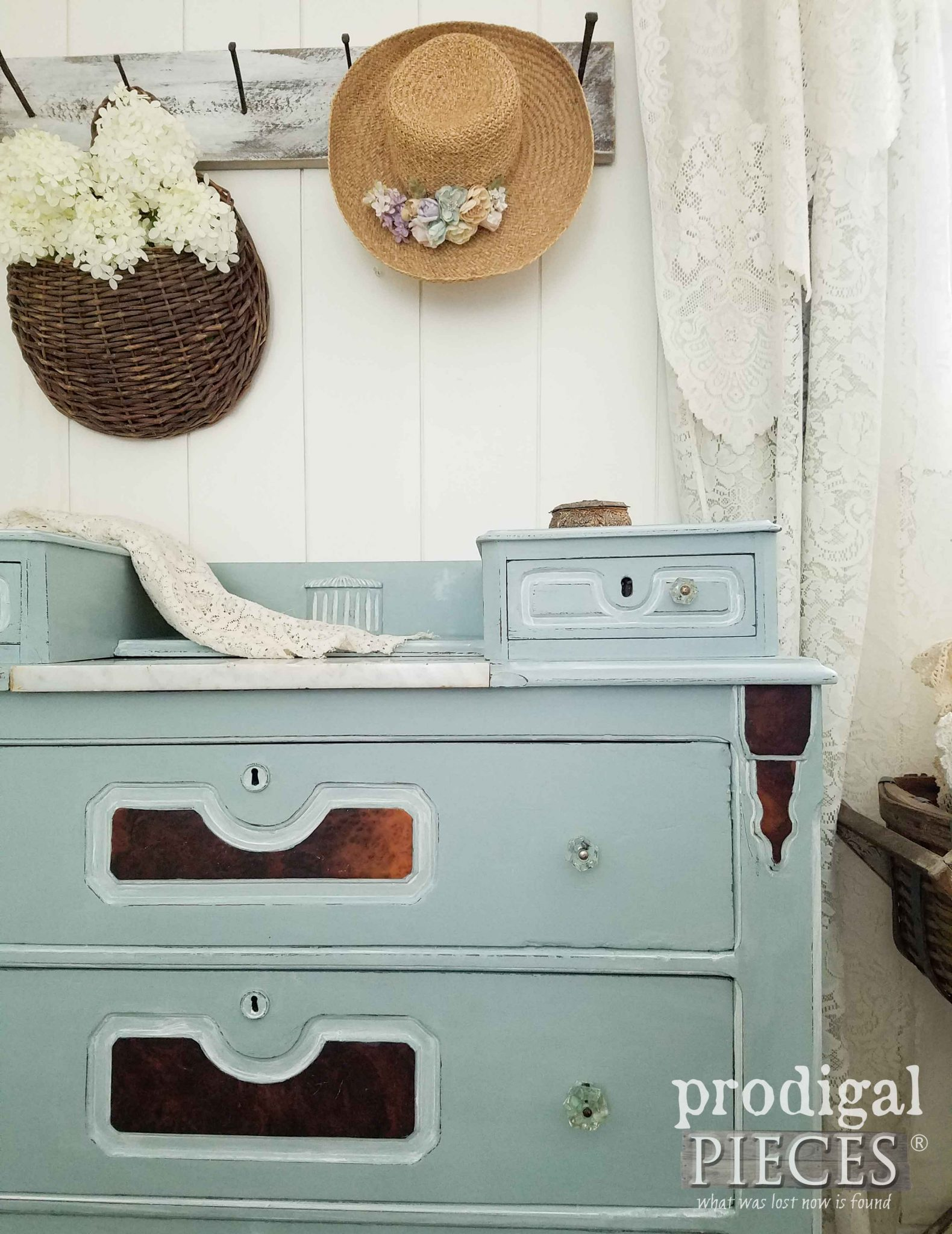 Glazed Antique Chest Using DecoArt Chalky Finish Paints by Prodigal Pieces | prodigalpieces.com