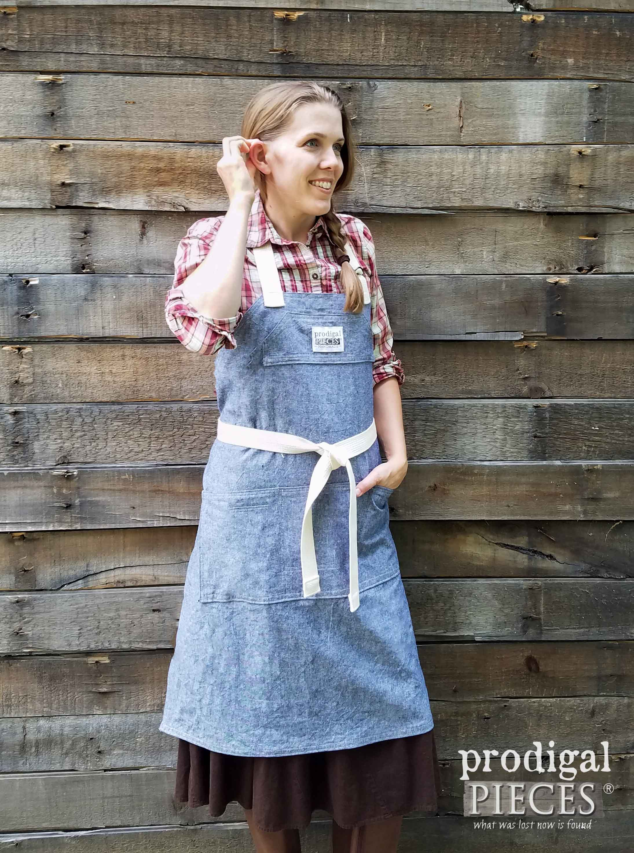 Linen Demi-Chef Apron for Kitchen, Woodworking, Painting, Gardening and more by Prodigal Pieces | prodigalpieces.com