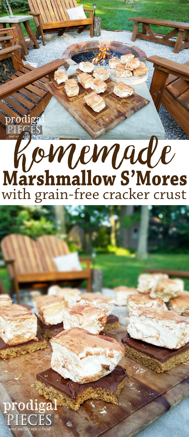 Make these delicious homemade marshmallow s'mores to delight your tastebuds. Grain-free crust makes it delish for anyone. Recipe at Prodigal Pieces | prodigalpieces.com