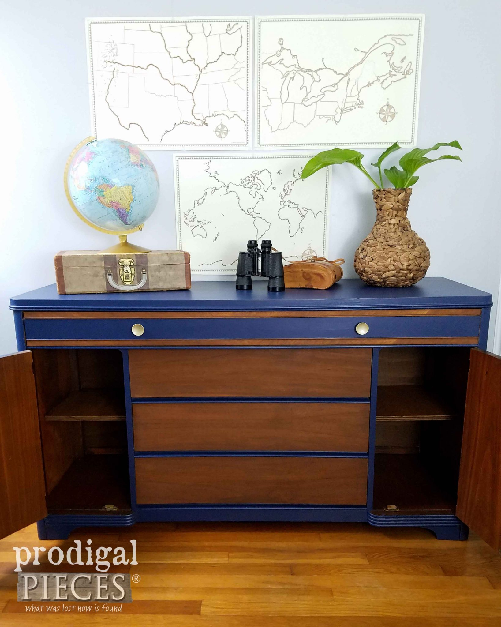 Open Vintage Art Deco Buffet ~ Makeover by Prodigal Pieces | prodigalpieces.com