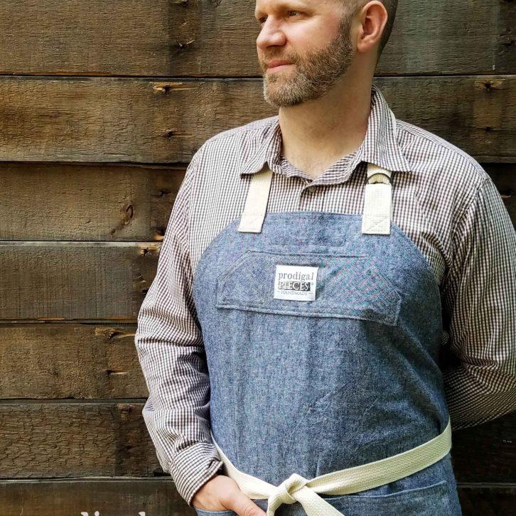 JC in Demi-Chef Linen Apron by Prodigal Pieces | prodigalpieces.com