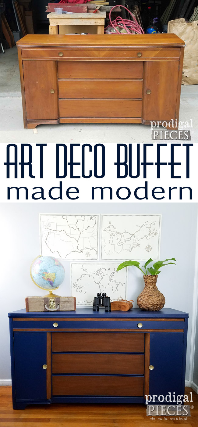 Check out how this vintage Art Deco buffet was given a modern feel. Makeover at Prodigal Pieces | prodigalpieces.com