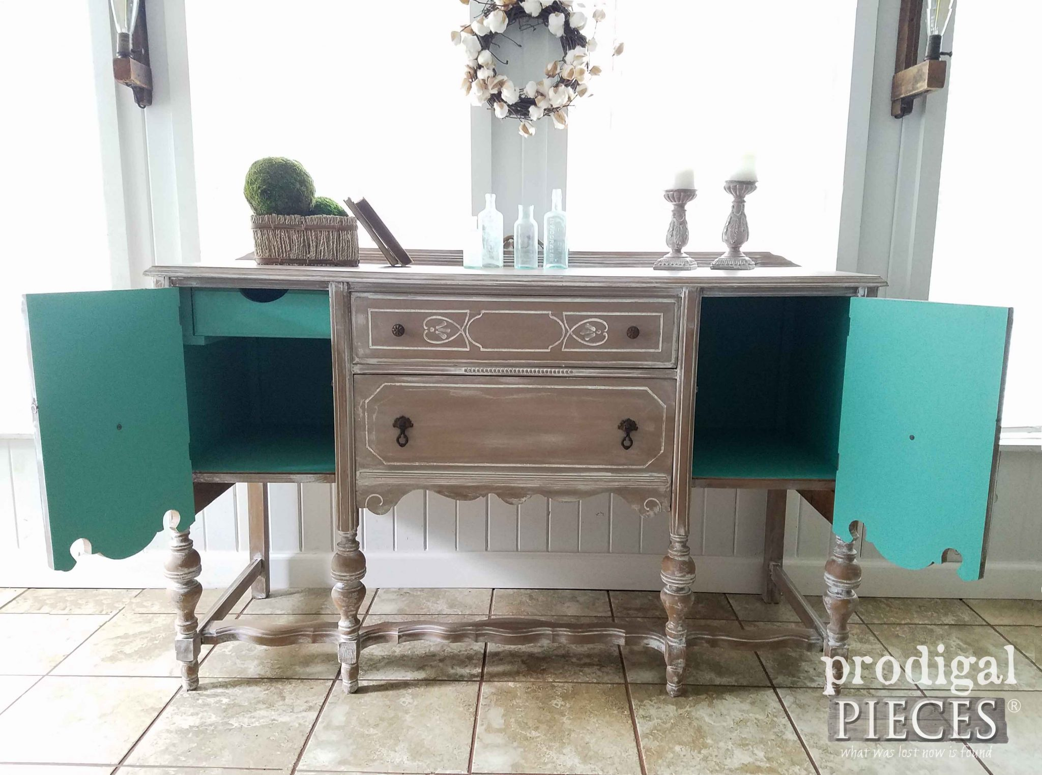 Inside of Antique Buffet Makeover shows pop of color by Prodigal Pieces | prodigalpieces.com