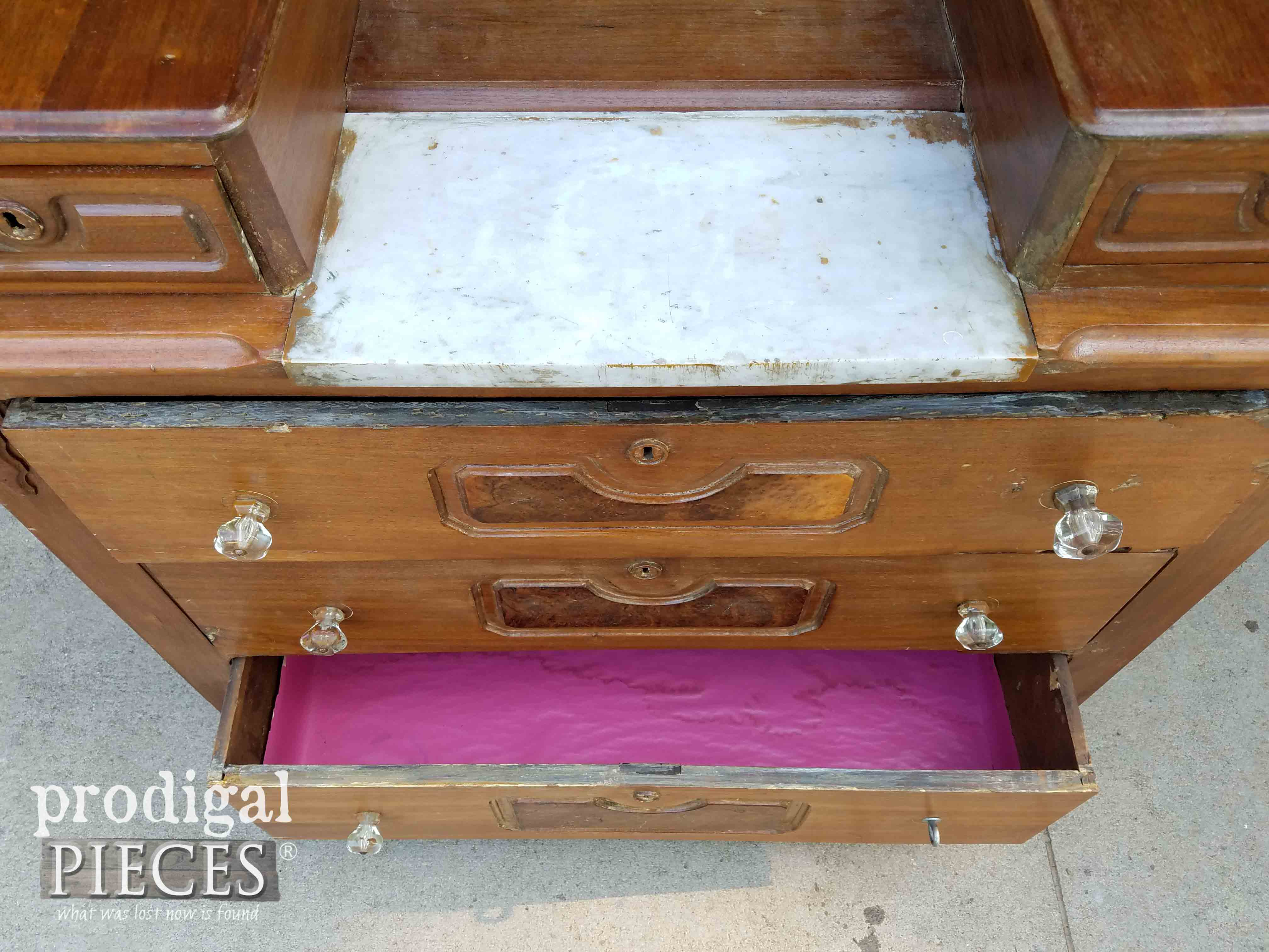 Open Chest Drawer with Pink Lining | prodigalpieces.com