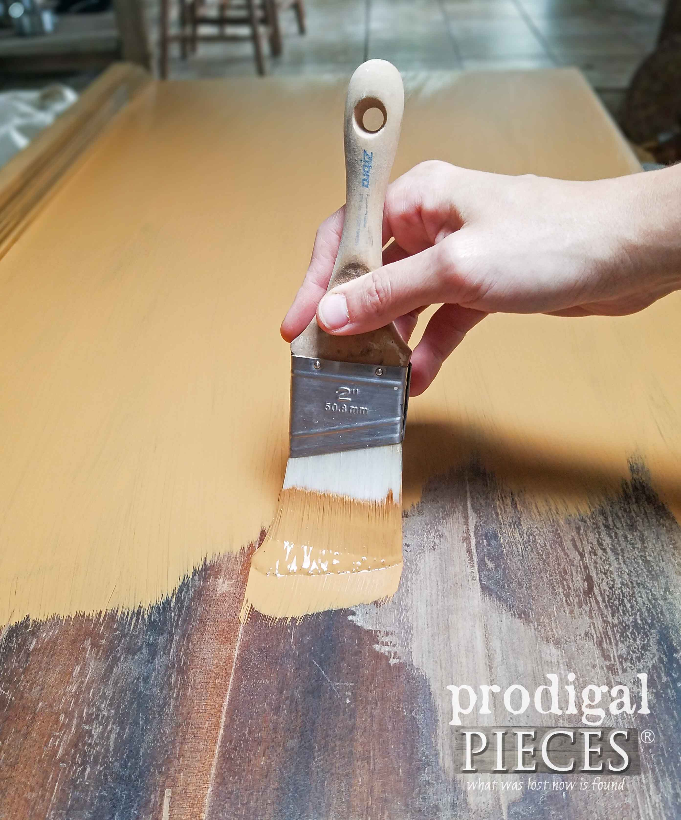 Painting Buffet Top with Zibra Paint Brush by Prodigal Pieces | prodigalpieces.com