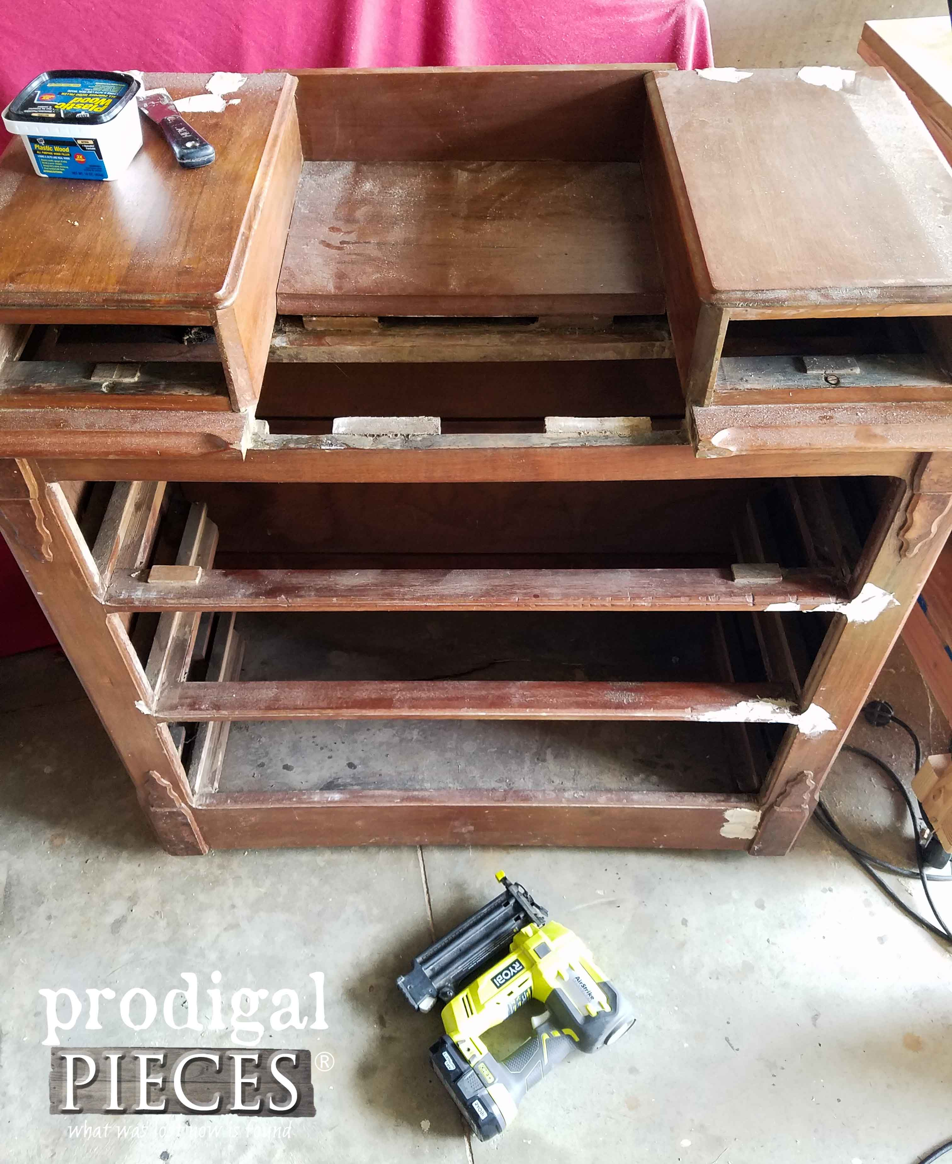 Repairing Antique Chest with AirStrike Nailer | prodigalpieces.com