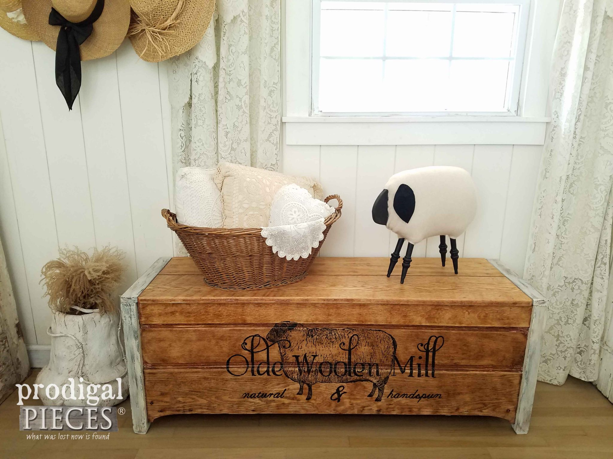 Olde Woolen Mill Farmhouse Blanket Chest by Prodigal Pieces | prodigalpieces.com