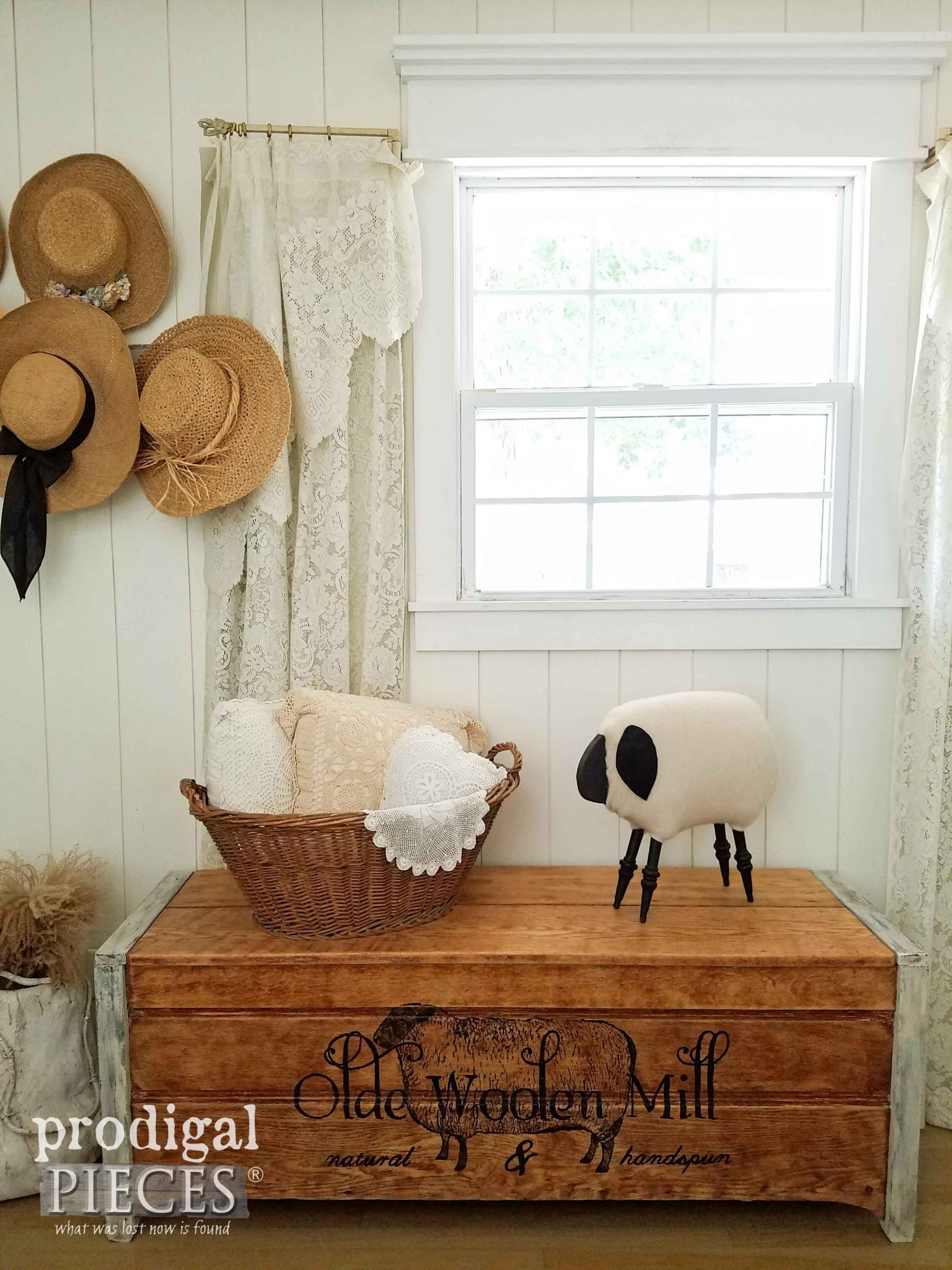 Rustic Farmhouse Style Blanket Chest with Typography by Prodigal Pieces | prodigalpieces.com