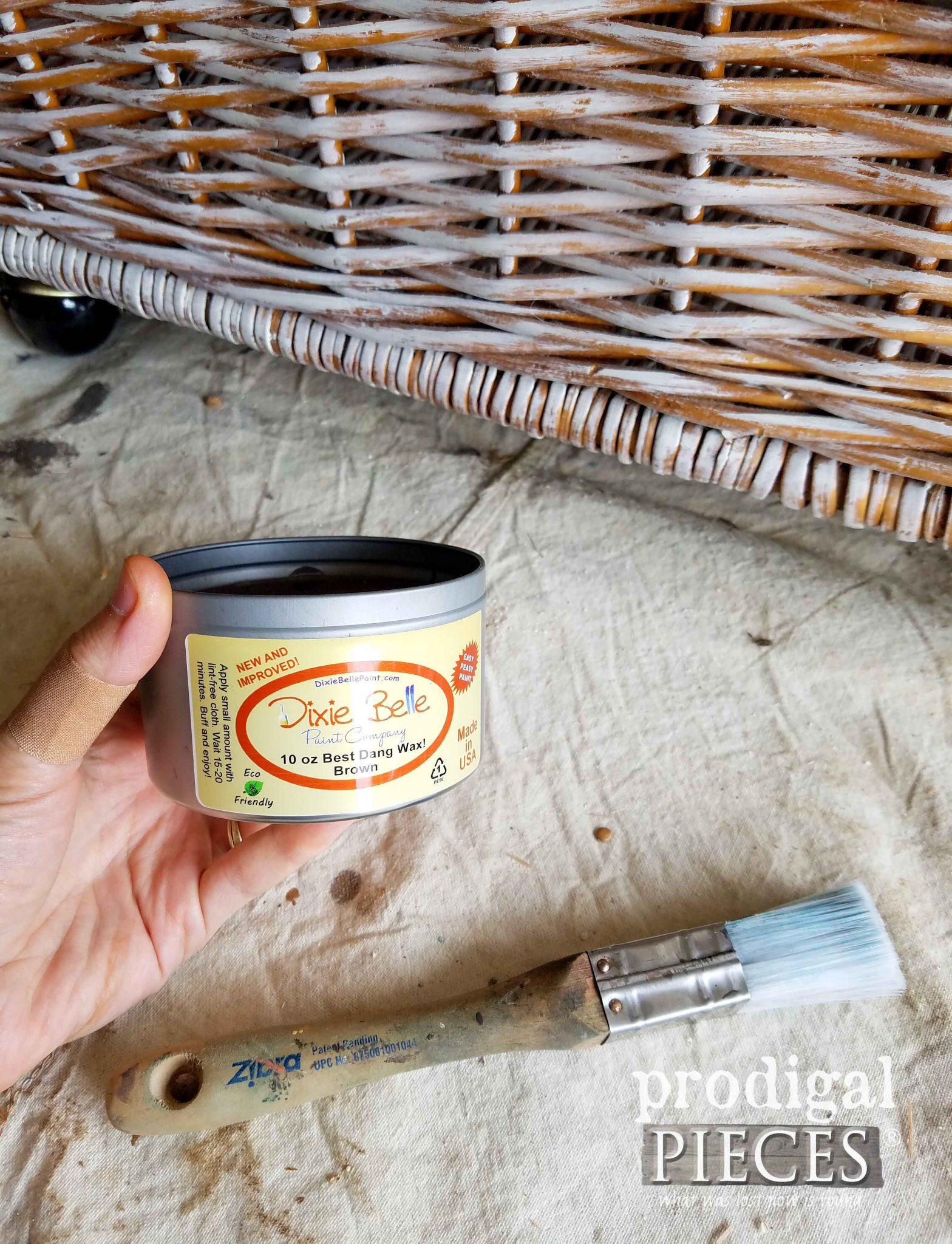 Applying Brown Wax to Whitewashed Basket | Prodigal Pieces | prodigalpieces.com