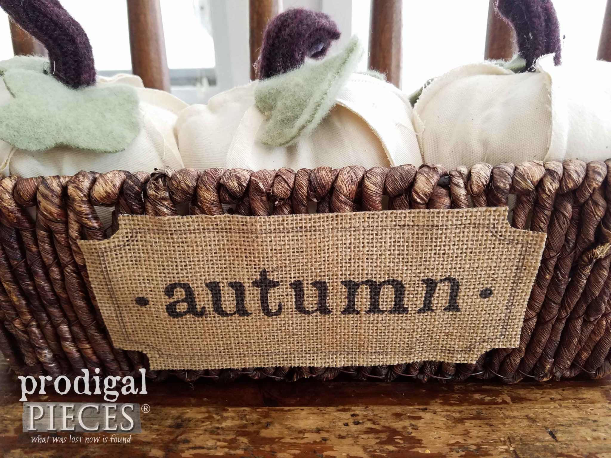 Autumn Burlap Basket with Handmade Pumpkins by Prodigal Pieces | prodigalpieces.com