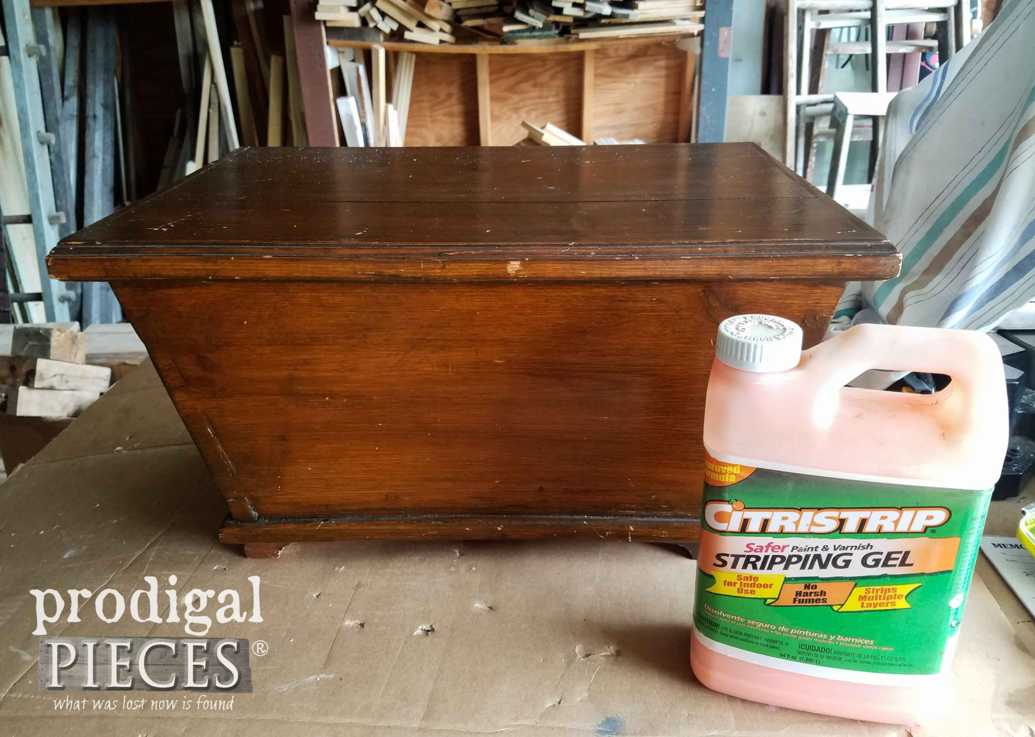 Using CitriStrip Stripping Gel to Refinish Chest by Prodigal Pieces | prodigalpieces.com