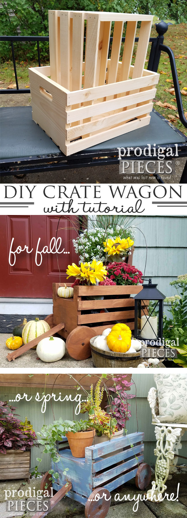 Build a Sweet DIY Crate Wagon with this tutorial by Prodigal Pieces. Use it outdoor, indoor, Christmas, photo prop, planter...you get the idea! Tutorial here at prodigalpieces.com