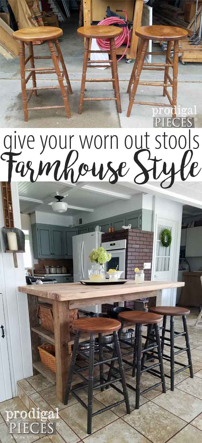 Looking for ways to update your decor? Take your dated furniture and give it a fresh new look like my farmhouse bar stools. It's easy and budget-friendly! Tutorial here at Prodigal Pieces | prodigalpieces.com