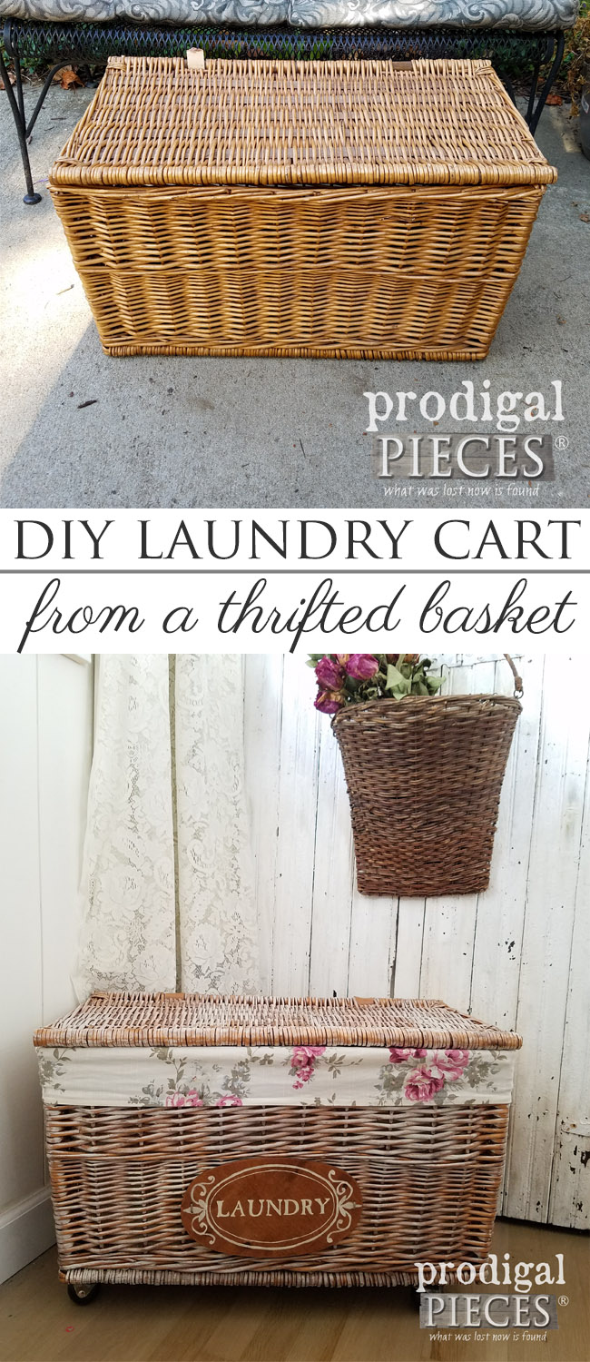 Create a DIY Rolling Laundry Cart with a thrifted basket. Full details at Prodigal Pieces | prodigalpieces.com