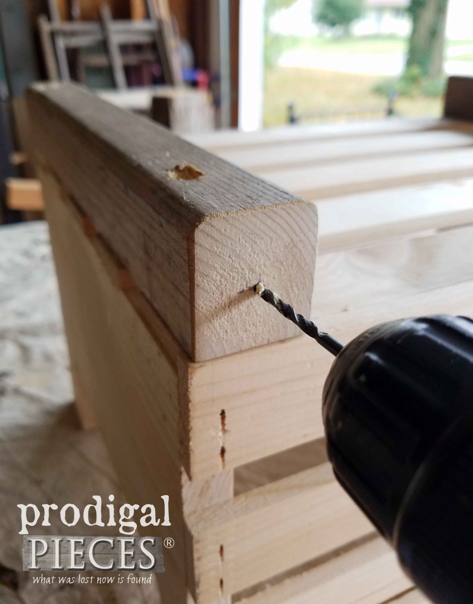 Pre-Drill Axel for Wheel on Crate Wagon by Prodigal Pieces | prodigalpieces.com