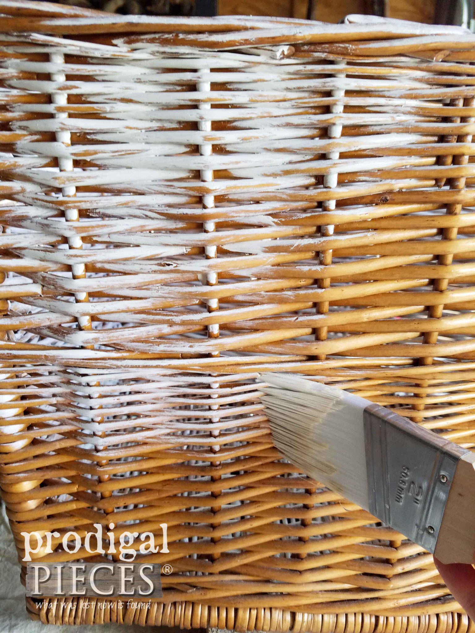 How to Whitewash a Basket with a Dry Brush Technique Demonstrated by Prodigal Pieces | prodigalpieces.com